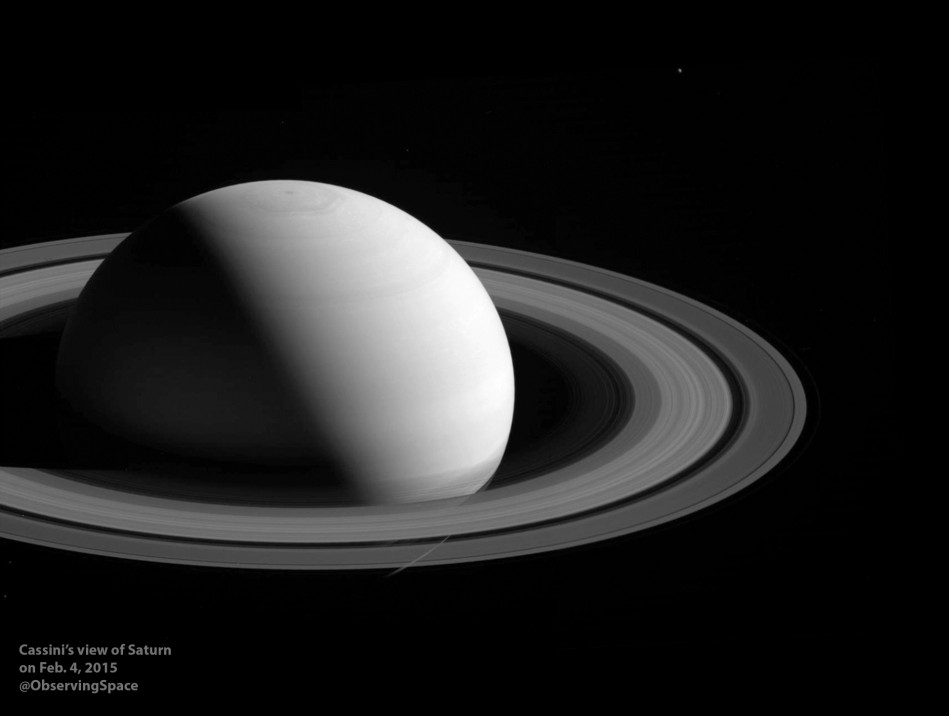 Saturn and Tethys on Feb. 4, 2015