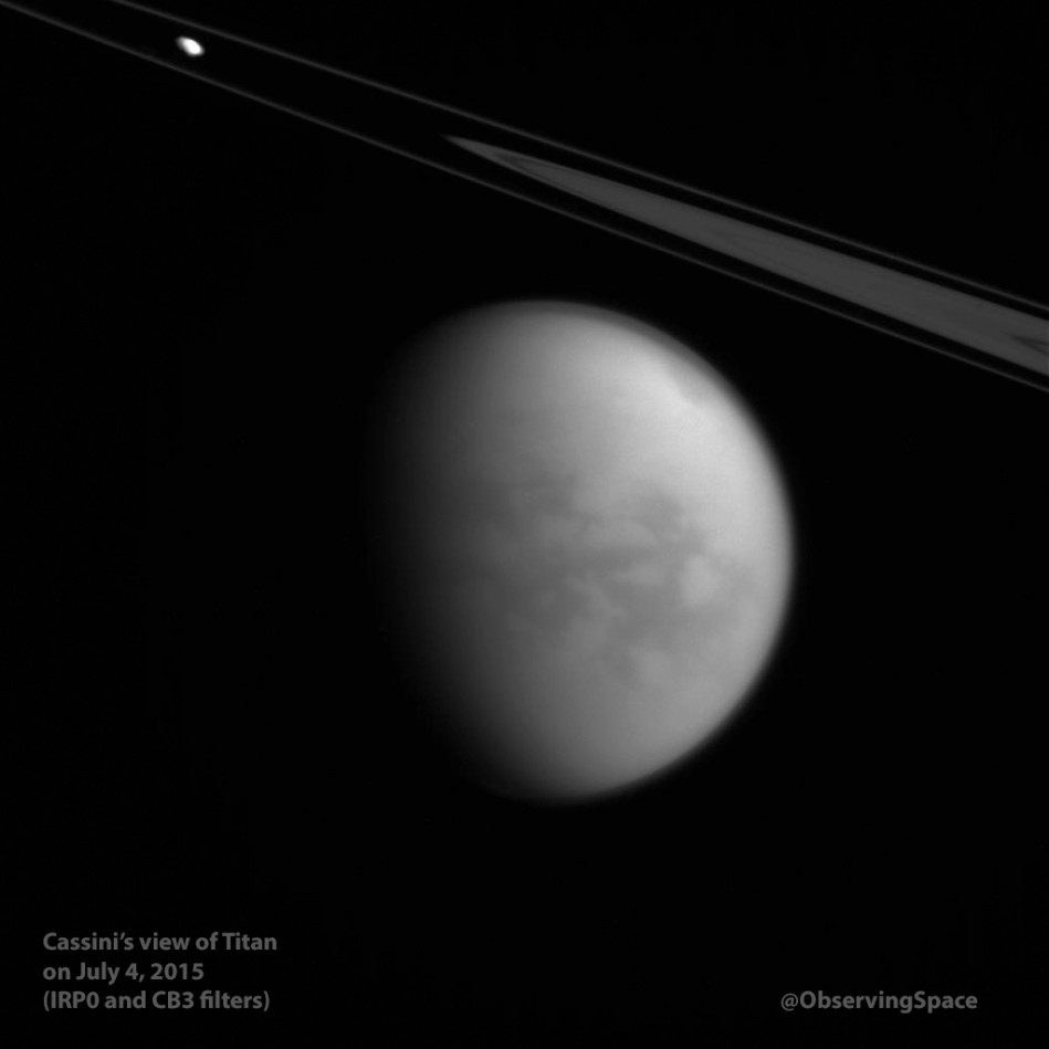 Cassini's view of Titan on July 4, 2015 (IRP0 & CB3 filters)